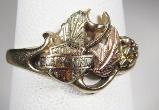 Harley Davidson Ring 10K Black Hills Gold Ladies CAR 2371