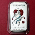 CUPID LOVE HEART 1 TROY OZ .999 FINE SILVER ART BAR INGOT ENAMEL CEECO