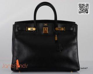 URBAN LEGEND HERMES BIRKIN BAG 40cm BLACK BOX W GOLD HARDWARE