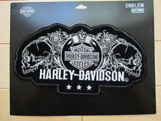 Harley Davidson Large Profile Skull Bar & Shield Emblem Patch