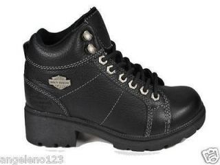 HARLEY DAVIDSON Tyler Black Leather Shoes Mid Top Women Size BOOTS