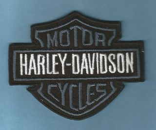 HARLEY DAVIDSON   GREY BAR & SHIELD EMBROIDERED SEW ON PATCH