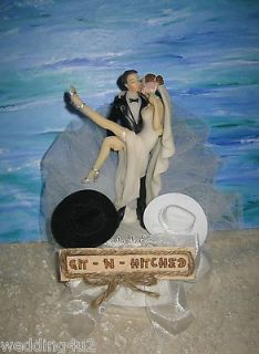 GIT N HITCHED HUMOROUS WEDDING WESTERN COWBOY HATS CAKE TOPPER
