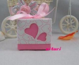 100pcs Heart Love Wedding Favor Party Boxes Candy box Pink ribbon