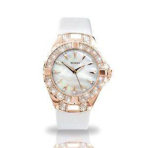 Ladies Seksy Sekonda Intense White Strap Pearl Dial Crystal Watch 4434