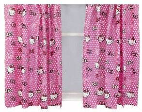 Official Hello Kitty Ready Made Curtains 66 x 54 / 168 x 137cm
