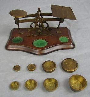 ANTIQUE BRASS & WOOD POSTAGE SCALE With Weights