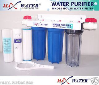 Whole House Water Filter, Sediment, Carbon, 3/4 ports + 2 PVC valves