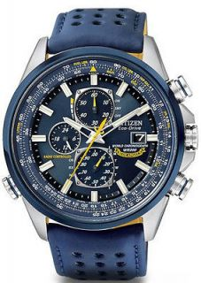 New Citizen Eco Drive Atomic Blue Angeles Chronograph Watch AT8020 54L