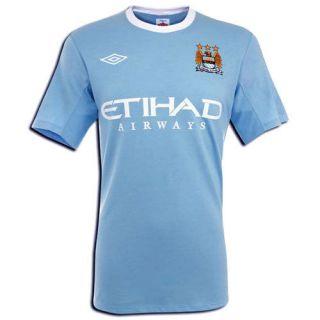 Manchester City FC 2009/10 Home Short Sleeve Jersey Shirt Mens Size