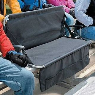 Folding 2 Person Stadium Bleacher Seat Chair Cushion w/Arms & Pockets
