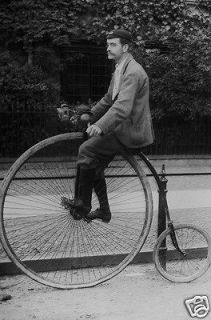 Photo British Man Rides Big Wheel Bicycle or Penny Farthing 1850s