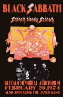 BLACK SABBATH REPLICA *BUFFALO 1974* CONCERT POSTER