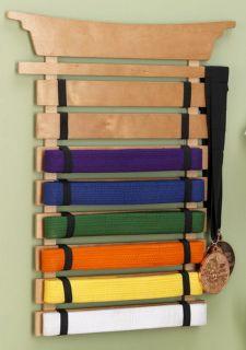 New Wooden Martial Arts Karate Belt Wall Display Holder