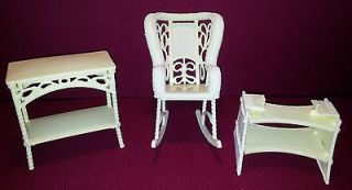 Barbie Doll Dream House Wicker Baby Furniture Rocking Chair Bassinet