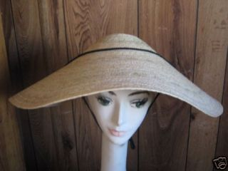 Wide Brim Asian Chinese Natural Straw Braid COOLIE HAT costume