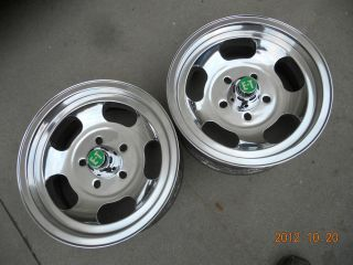 JUST POLISHED 14x7 INDY SLOT MAG WHEELS CHEVY GASSER MAGS FORD DODGE