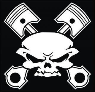 vinyl decals Skull and bones cross pistons cars decals tools box