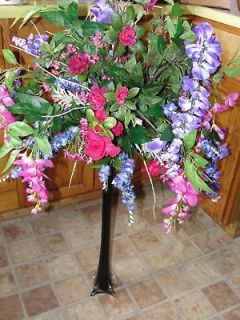 Purple Wisteria Fuschia Pink Vase Silk Flower Bouquet
