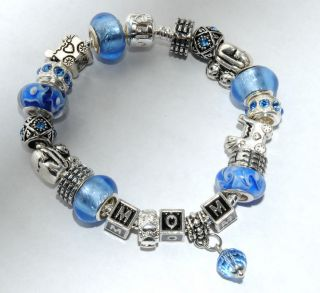 Silver European Charm Bracelet Lampwork Beads Mom Bling Easter Mother