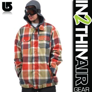 2012 MENS BURTON HACKETT SNOWBOARD/SKI JACKET BITTERS RIDELOW PLAID