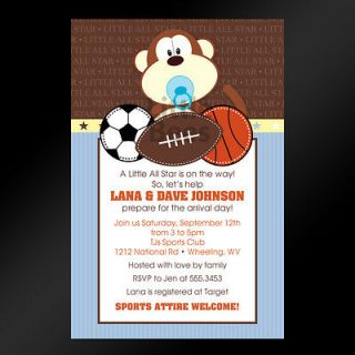 Jungle Monkey Lion Sports Baby Shower or Birthday Invitations