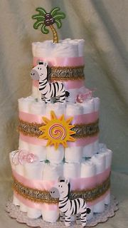 Tier Diaper Cake ZEBRA, Jungle,,Zoo, Safari Animals Baby Shower