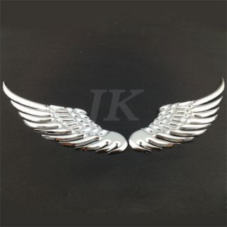 New silver Car Decor Metal Wing 3D Decal Auto car sticker