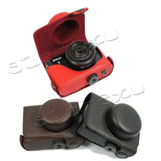 New Leather camera case bag pouch +strap for Nikon 1 J1 10mm black