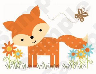 FOREST ANIMALS FOX BUTTERFLY BABY NURSERY WALL MURAL STICKERS DECALS