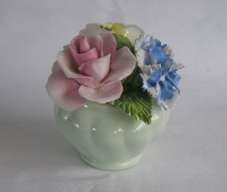 Radnor Art Pottery Bone China Staffordshire Floral Vase Basket