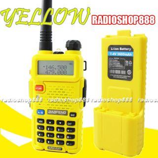 Yellow BAOFENG UV 5R Dual Band Radio +Extra High Capacity 3600mAH