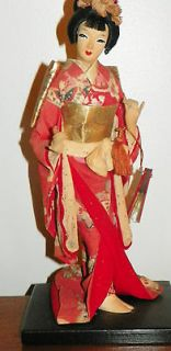 Vintage 12 tall NISHI Doll Japanese Oriental Doll on wood stand w