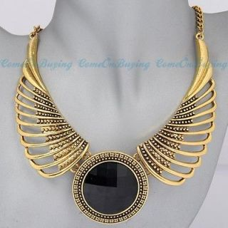 Chain Angel Wing Hollow Out Black Acrylic Beads Pendant Necklace