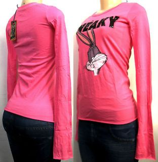 Womens BEJEWELED pink T shirt size XS bugs bunny sneaky rhinestones
