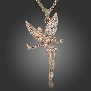18K rose gold Gp Swarovski Crystal Angel TINKERBELL necklace 331