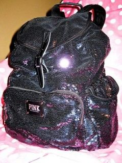 VICTORIAS SECRET ♥ PINK ♥ BLACK BLING SEQUIN BACKPACK PURSE