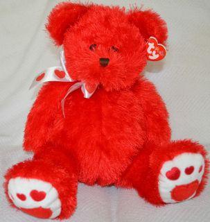 Punkies Siren Red Teddy Bear 2006 White Love Heart Ribbon Beans NWT