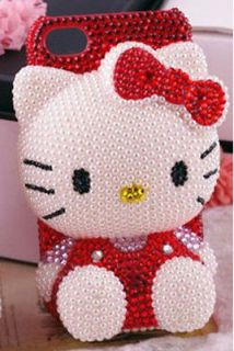 Bling Red Hello Kitty BOW for cell Phone iPhone4 4s Case Cover NEW