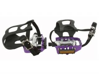 Pedals W/Toe Clips 9/16 Purple. BMX FIXIE Lowrider beach bike pedal