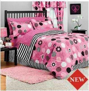 New pink skulls black white polka dot crib bedding set - Black white pink comforter ...