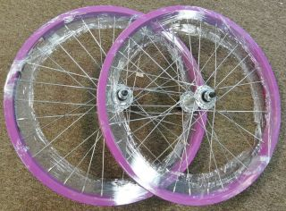 Lavender 20 inch Wheels Pair of Wheels for BMX Bike Dbl Wall 3/8 axle