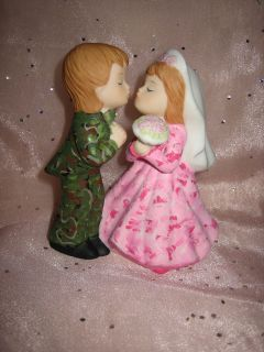 REDNECK WEDDING PINK CAMO DEER HUNTER HUNTING CAKE TOPPER