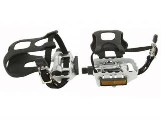 Pedals W/Toe Clips 9/16 White. BMX FIXIE Lowrider bike cruiser pedal