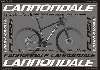 FLASH 29 ER 2012 bike stickers decals graphics cannondale bikes