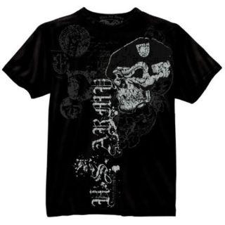 US ARMY SKULL & BERET Graffiti Vintage Soft T Shirt Black Tee   FREE