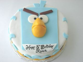 2D EDIBLE BLUE ANGRY BIRD SPACE TOPPER FONDANT  10  GREAT ON TOP OF