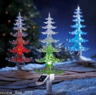 NEW SET OF 3 SOLAR COLOR CHANGE CHRISTMAS TREES LIGHT HOLIDAY