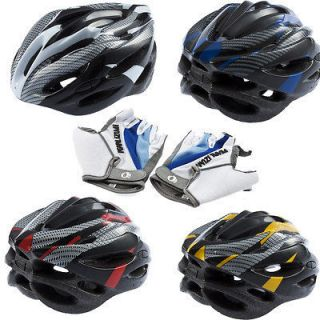 Bicycle Adult Helmet carbon Hat With Visor 19 Holes Bike Gloves