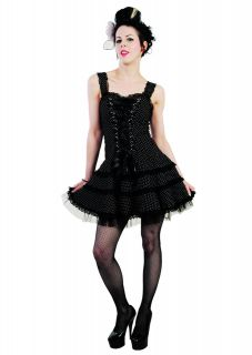 HELL BUNNY Harley Black White Polka Dot Mini Dress size 10 S